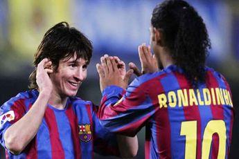 تبریک معنا دار رونالدینیو به مسی پس درخشش او در ال کلاسیکو