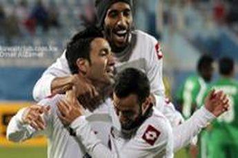 نکونام با پرچم ایران در جشن قهرمانی الکویت / استقبال ویژه امیر کویت از کاپیتان تیم ملی