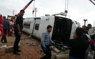 واژگونی اتوبوس درجاده شیراز با ۱۶ مصدوم